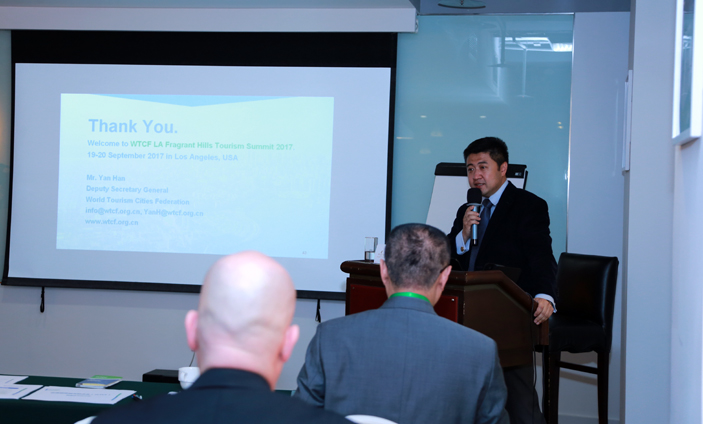 Yan Han, Deputy Secretary-General of WTCF, Introduces WTCF to the Participants