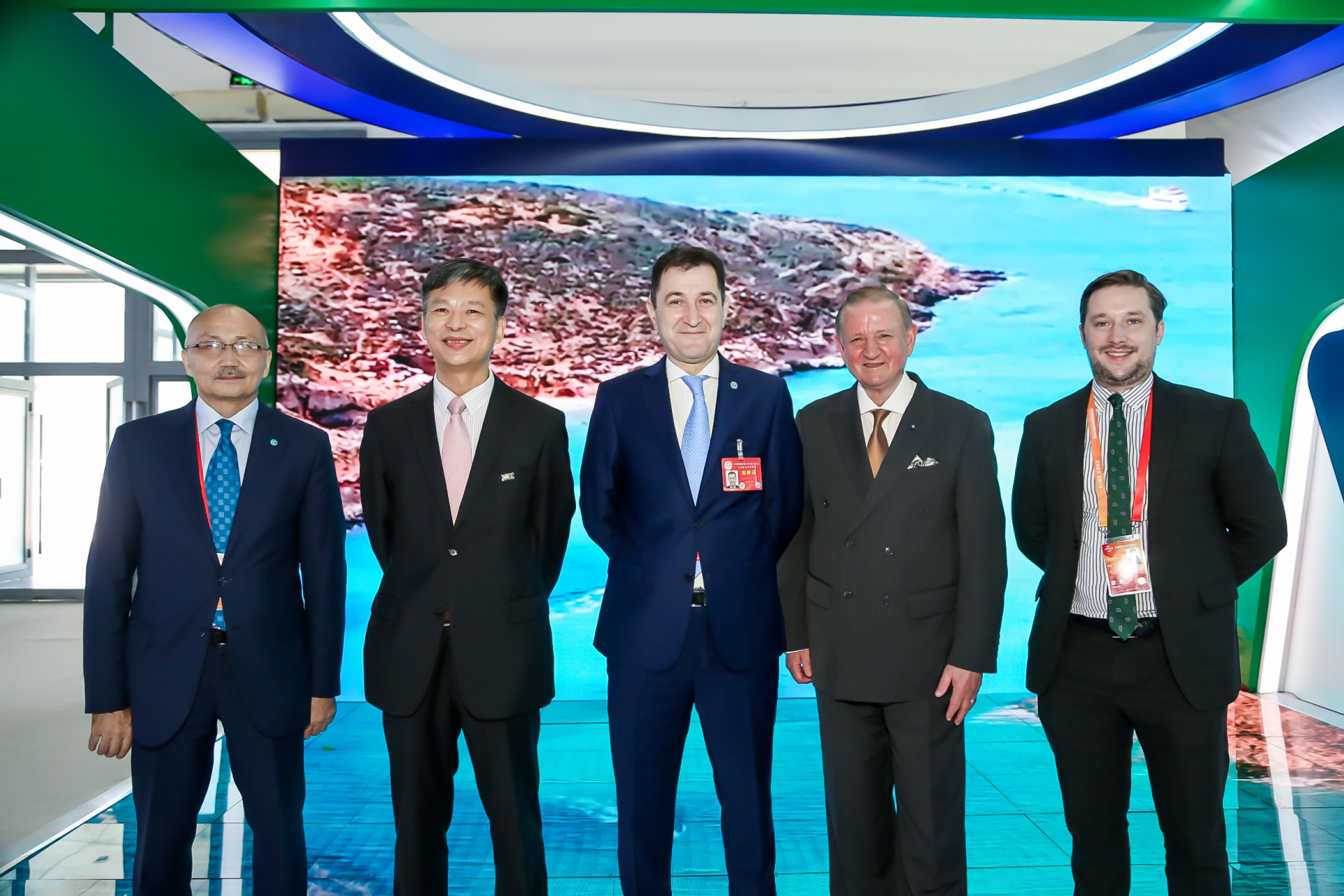 A group photo taken at the booth of WTCF