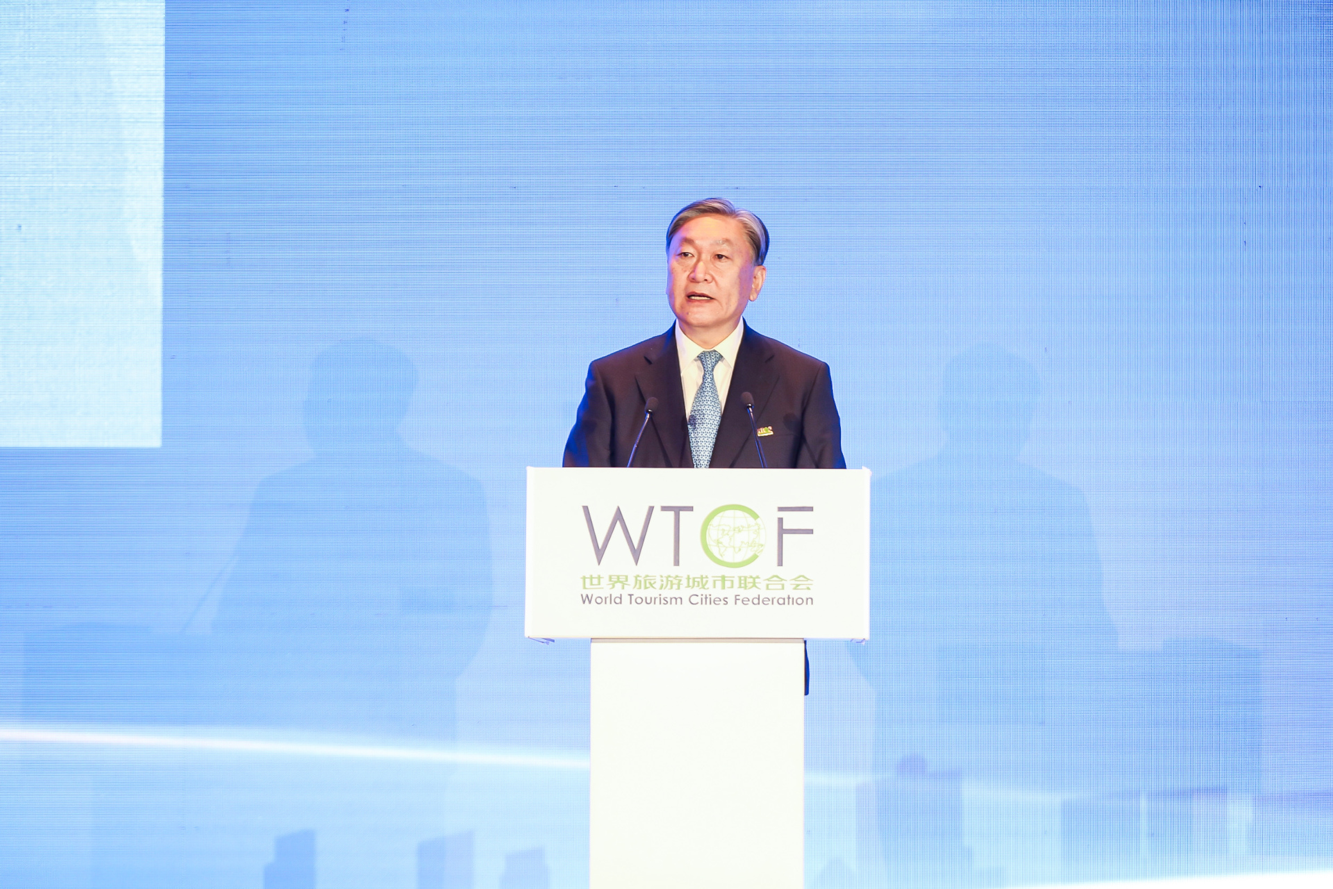 Chen Dong, Secretary-General of World Tourism Cities Federation (WTCF) and General-Director of Beijing Municipal Bureau of Culture and Tourism, delivers a speech at the Tourism Investment and Financing Conference